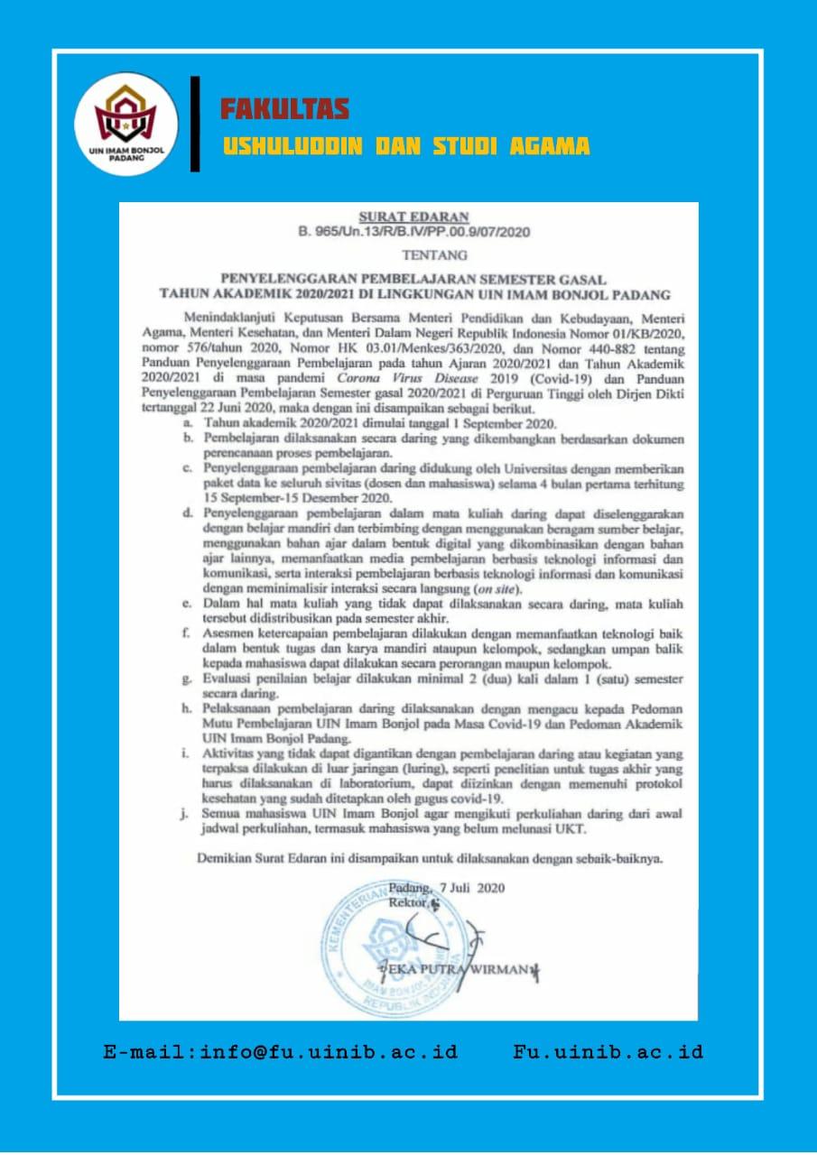 Surat Edaran Rektor No. B.965/Un.13/R/B.IV/PP.00.9/07/2020 tentang Penyelenggaraan Pembelajaran Semester Gasal Tahun Akademik 2020/2021 di Lingkungan UIN Imam Bonjol Padang